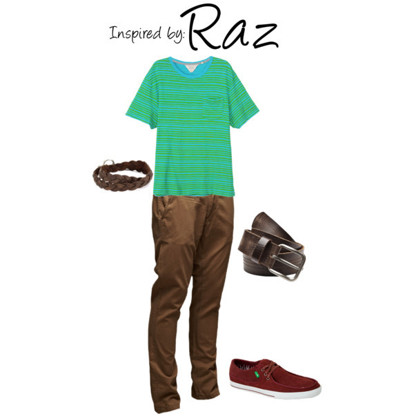 Raz (Psychonauts) by ladysnip3r featuring vintage belts This outfit is inspired by Raz of Psychonauts. I obviously couldn't replicate his in-game outfit fashionably, since it's so wild looking, so I used the key color palette of brown to mimic it. I chose brown pants paired with a dark brown belt and bracelet. I also chose a bright blue and green striped tee that reminded me of his funky shirt. Lastly, I chose dark red shoes that match the accents of his in-game outfit and compliment the outfit's palette. (Reference Image) Vintage belt, 30 AUDJack & Jones Field Chino Pant Dark Camel, €60Basic Pocket Tee - Cerulean Stripe, $95Sanuk Shunami Primo Shoe Men's, $39Ettika Men's Silver Colored Brown Braided Deerskin Leather Wrap…, $52