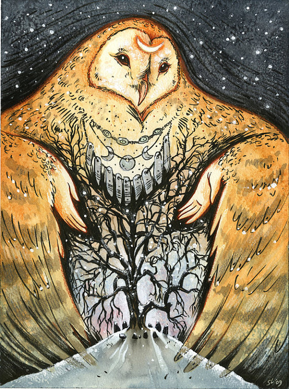 Hibou  Owl Mother by nethersphere