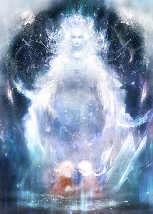 "fairytalemood:  ""The Snow Queen"" by smokepaint"
