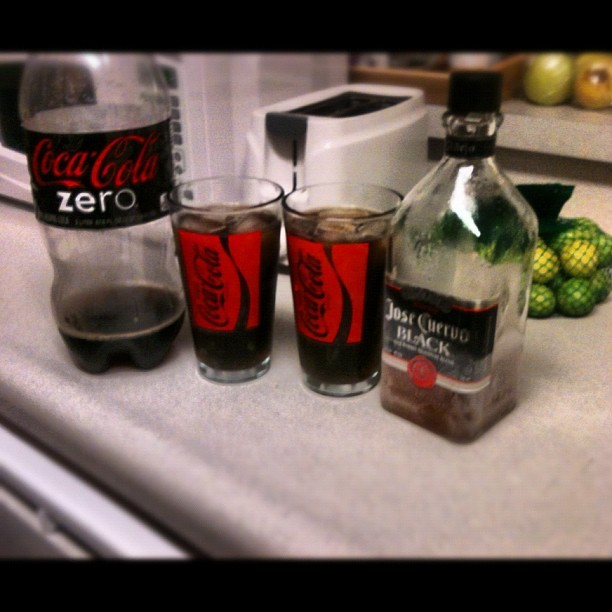 #CocaCola zero and #JoseCuervo Black to kick off the night (Taken with Instagram)