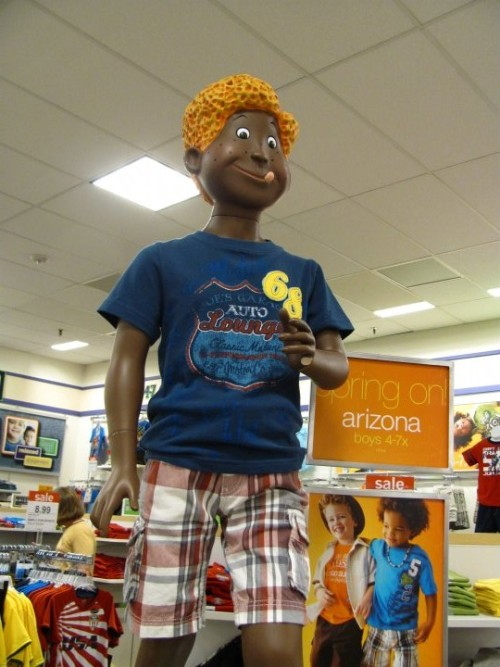 classybarack:  I was at the store today and this was really disturbing. See his pinky fell off and im pretty sure there ain't no fucking black people with hair like that okay