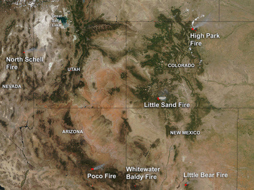 fyeahuniverse:  Blazing Fires In The US Caught By NASA's Aqua Satellite  Just as the AIRS instrument on Aqua can detect the ambient temperature of clouds, the MODIS infrared imaging instrument can detect hot-spots on land. When Aqua takes an image, it highlights the hot spots in red and smoke clouds in light brown.  Image credit: NASA Goddard MODIS Rapid Response Team, Jeff Schmaltz