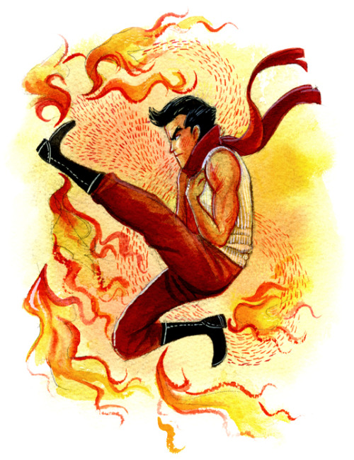 thevintagepostbox:  And here we are: Mako, the firebending ladies' man. I'm not going to pretend I understand this one. If you want, you can check out the matching paintings of Korra and Bolin.