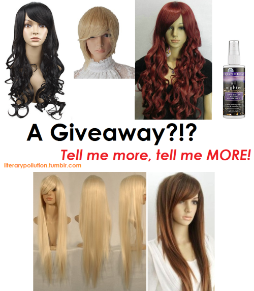 "literarypollution:  edit: 2 more wigs added! I didn't expect such a huge interest…so I decided to add two more spots to the winnings! So I'm doing a giveaway because I've gotten -X- amount of followers. It may not seem significant (it's really not) but whatthehey I want to make my contribution to the Homestuck giveaway pool and I appreciate the -X- amount of followers I have! Okay, bitch. Stop talking. Tell me what goodies I can get!?! A 28"" black long wavy wig (Vriska, Aradia, Jade, Grand Highboob, etc), a short blonde wig (could be Rose or a Dave? you could always cut it), or a 30"" long dark red wig (I just really liked this color so I threw it in there), a wig cap and urban decay 4oz. makeup setting spray! AND a 40"" long blonde wig and 35"" long caramel brown wig! Note: All the wigs (I'm happy to announce) are heat resistant to 200 degrees Fahrenheit! **All of the wigs are excellent quality as my mother and I are setting up a wig store and these were sent to us as examples. I have no need for them so I am giving them away.** 1st place:- First pick at the wigs, a wig cap and a bottle of urban decay setting spray! 2nd place:-Second pick at the wigs, a wig cap and a bottle of urban decay setting spray! 3rd place:- Third pick at the wigs, a wig cap and a bottle of urban decay setting spray! 4th place:- Fourth pick at the wigs, a wig cap and a bottle of urban decay setting spray! 5th place:-Whichever wig is left (but they're all really nice *o*), a wig cap and a bottle of urban decay setting spray! Alright calm yourselves….there's rules!! :o - You do not need to be following me although it is much appreciated if you do!- Likes count!-Reblog to your heart's desire but PLEASE be mindful of your followers!- Ask box MUST be open so I can share with you the great news if you've won!!- NO sideblogs, fake blogs, etc. I WILL BE CHECKINGstalking YOU TO MAKE SURE.- I will ship internationally!- And of course, I will use a random number generator~ Giveaway ends on August 17th, my 16th birthday! Good luck to all! -literarypollution"