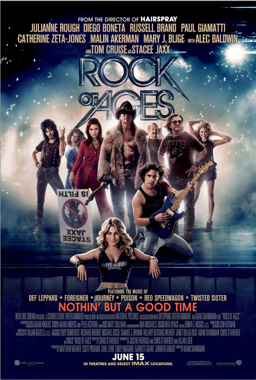 ★★★★ Rock of Ages dir. Adam Shankman I'm a little conflicted about this movie. Because…it's a freaking '80s musical. Which means - super awesome '80s music, but also a god awful script to go along with the god awful lyrics in the songs. Based on a Broadway play (aren't all musicals these days?), it's exactly the story you would expect - small town girl with musical aspirations moves to Hollywood, falls in love, gets heartbroken and becomes a stripper only to find that everything turns out just peachy in the end. It's chock full of painful coincidences and horrible cliches. But then there's Alec Baldwin as a washed up bar manager with long hair. And Tom Cruise as a criminally insane rock legend. If nothing else, go to see this movie just for the love ballad between Alec Baldwin and Russell Brand in which they sing Can't Fight This Feeling Anymore to flashbacks of their time together. Yes, that happened.