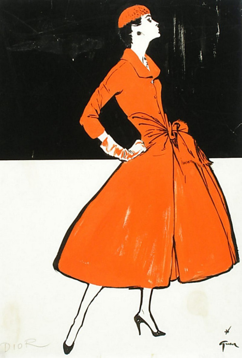 theniftyfifties:  A Christian Dior design illustrated by Rene Gruau, 1955.