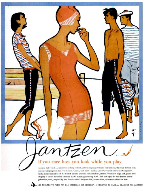 theniftyfifties:  A 1959 Jantzen swimwear advertisement illustrated by Rene Gruau.