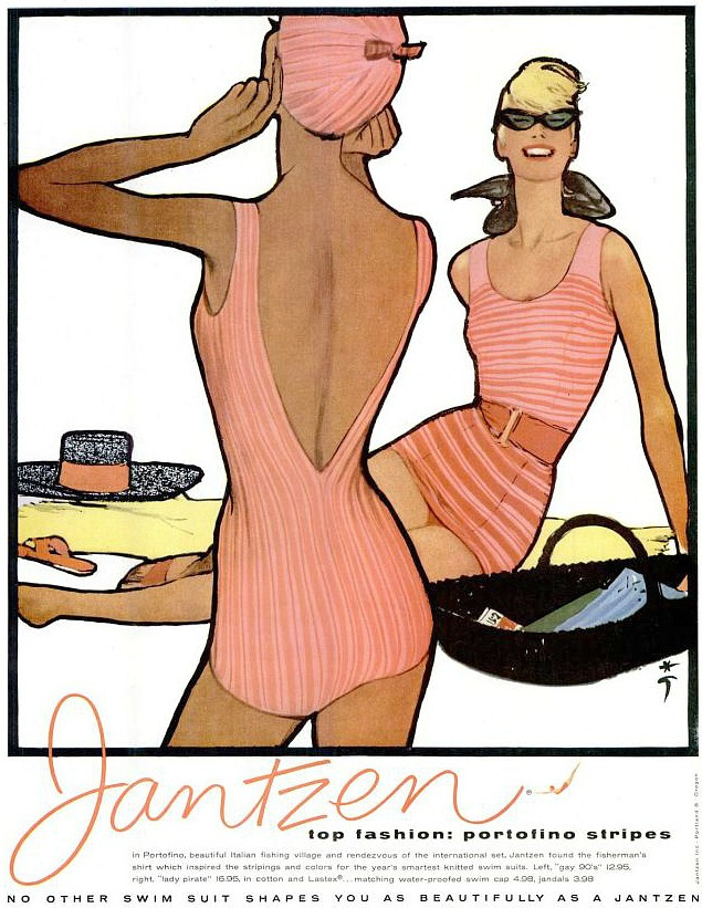 theniftyfifties:  A 1958 Jantzen swimwear advertisement illustrated by Rene Gruau.
