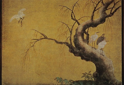 windypoplarsroom:  Shikidai - 3rd chamber of Elders - painting of herons in snowy willow tree on south wall.
