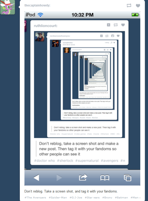 Don't reblog. Take a screen shot and tag it with your fandoms.