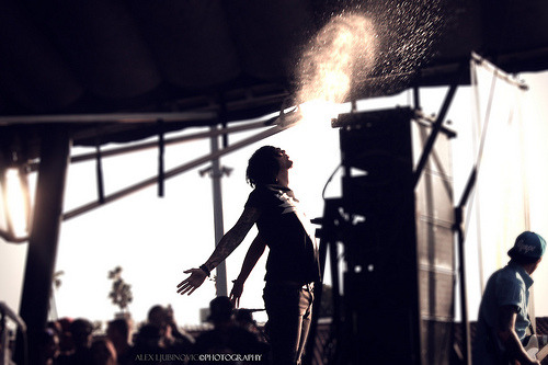 murderousbreakdowns:  Kellin Quinn | Sleeping With Sirens set. | Pomona Warped tour.