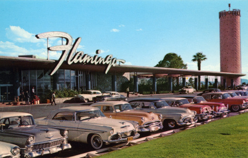 theniftyfifties:  The Flamingo Hotel carpark, Las Vegas, 1950s.  Hard to believe anything in Vegas was ever this modest…