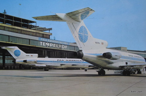 Tempelhof Airport was in the American Sector of West Berlin, so it was only logical that Pan Am base their Internal German Service flights here. Unfortunately, the airfield was barely sufficient for jets like these 727s. Anything larger—especially their intercontinental 707s, DC-8s, and 747s—would have to be flown out of Tegel Airport in the French Sector; which they gradually moved to between 1964 and 1975, and would remain until their post-Cold War demise.