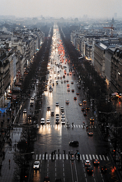 Champs-Elysee at dusk  | by bendisdonc | via flosculos