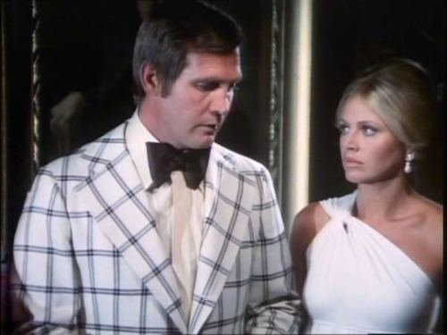 Cheaper than $6 million Lee Majors and Britt Ekland in The Six Million Dollar Man. Lee's jacket has to be one of the 1970s' worst fashion crimes.