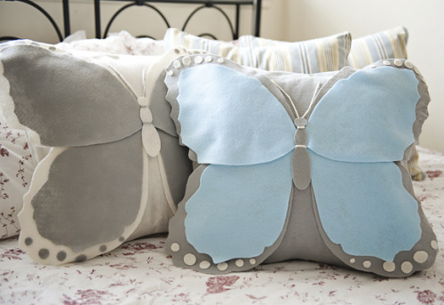 prettylittlepieces:  Felt Butterfly Pillow Cover
