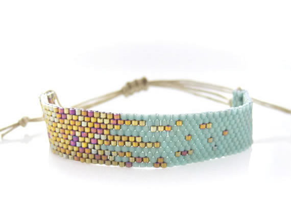 Mint Beaded Stardust Bracelet by JeannieRichard ~ on SALE ~ 30% OFF till JULY 15 ~ ❤