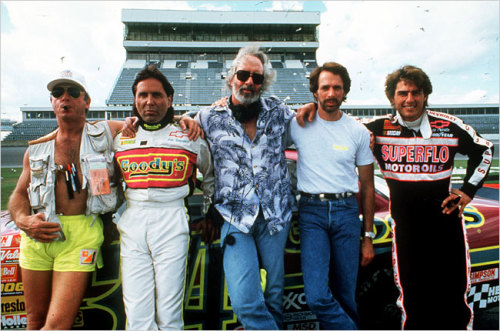 "The 1990 film ""Days of Thunder"" brought together, from left, the director Tony Scott, the producer Don Simpson, the screenwriter Robert Towne, the producer Jerry Bruckheimer and the actor Tom Cruise."
