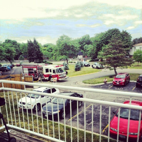 Early morning fire woke up the neighborhood.  (Taken with Instagram at Kings Walk Condominiums)
