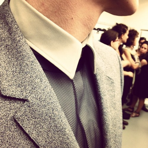 fordmodels:  Collar detail from @CalvinKlein Collection Men's Spring / Summer 2013 in Milano. (Taken with Instagram)