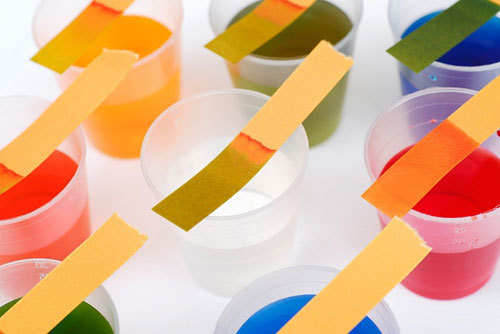 holymoleculesbatman:  Universal Indicator Paper A universal indicator paper is a pH indicator composed of a strip of paper treated with several compounds that exhibits several smooth color changes over a pH value range from 1-14 to indicate the acidity or basicity of solutions.  A universal indicator is typically composed of propan-1-ol, phenolphthalein sodium salt, sodium hydroxide, methyl red, bromothymol blue monosodium salt, and thymol blue monosodium salt.  Universal indicator may also come in an aqueous solution.  The colors that indicate the pH of a solution are: