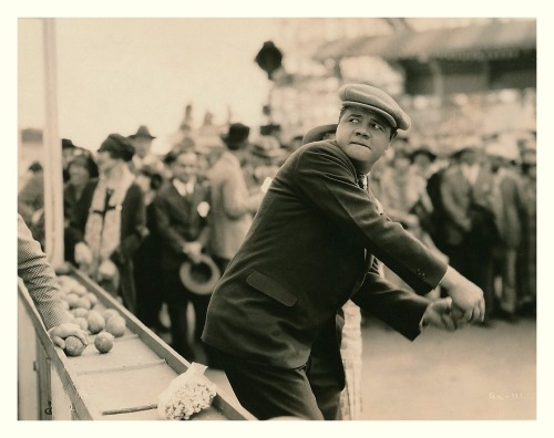 "Babe Ruth Throwing At The Fairgrounds 1927 ""Babe Comes Home"" Production Still"