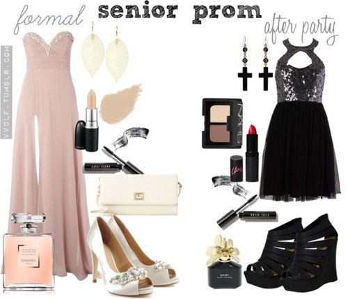 Senior Prom by vv0lf featuring chanel perfumeRachel Gilbert party dress, $695Lipsy long evening dress, £130High heels, $110Dooney Bourke clutch handbag, $149Emilio Pucci cross jewelry, £214Gold earrings, $23NARS Cosmetics eyeshadow, $34Bobbi brown cosmetic, $28Bobbi Brown Cosmetics mascara, $24MAC Cosmetics lip stick, $15Rimmel London lipstick, $9.10Chanel perfume, $105Marc jacobs fragrance, $75