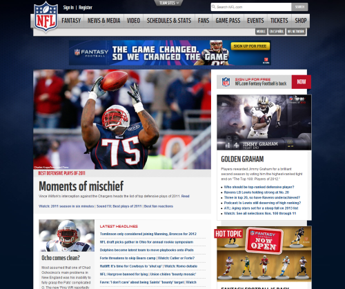 So, is it just me, or is the NFL.com website slowly backsliding to something more fitting c.2009? This is an organization that netted something like $9.5B last year. First off, I'm sort of blow away that the homepage isn't responsive (that's not to say it's not mobile friendly - mobile devices get kicked to m.nfl.com). The new, dark background really makes you feel the claustrophobic use of a fixed width layout that uses internal white space barely adequately. There's virtually no context for elements in the sidebar, with ads visually blurring together with features and headlines of a random sort. The body is just a giant, random assortment of articles from different categories, inexplicably broken up occasionally by a horizontal video block or tweet. In the end, I'm sort of shocked that THIS is the best the NFL can do with their home page, because in my humble opinion, this is pretty much just awful. It's not even helpful as a news site, because the information is so random.