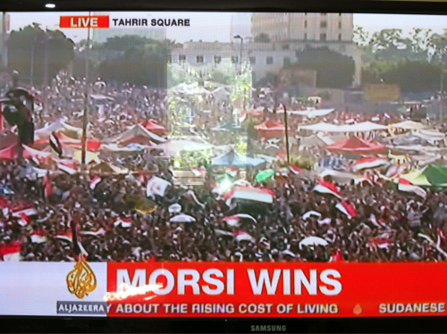 newsflick:  Breaking News: Morsi of the Muslim Brotherhood wins the Egyptian presidential elections. Via aljazeera  After a long wait … Morsi wins. The Muslim Brotherhood leader received 13.2 million votes, Al Jazeera English reports.