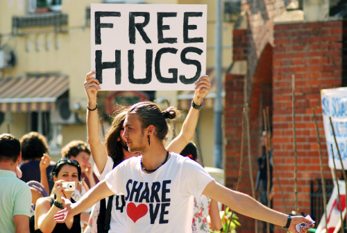 Free hugs. Street Delivery. 2012. Bucharest
