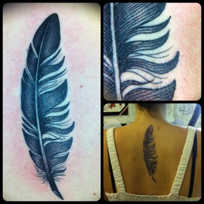 this is a custom feather i designed for this lovely gal's first tattoo :) i love doing these types of tattoos :) Guen Douglas, Magnum Opus Tattoos, Brighton, UK