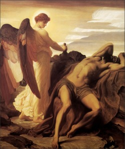 hasevonbastille:  Elijah in the Wilderness, Lord Frederick Leighton