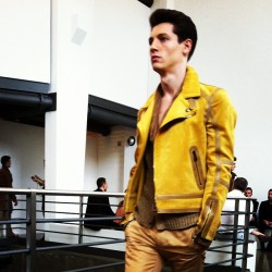 Mustard biker jacket at Belstaff #mfw #atheshows  (Taken with Instagram)