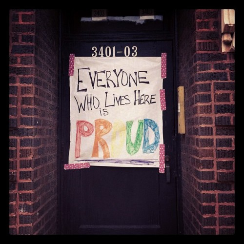 "fuckkyeahchicago:  jasmined:  ""Everyone who lives here is PROUD"" #Pride #Chicago #ChicagoPride (Taken with Instagram)  HAPPY PRIDE KIDS!"