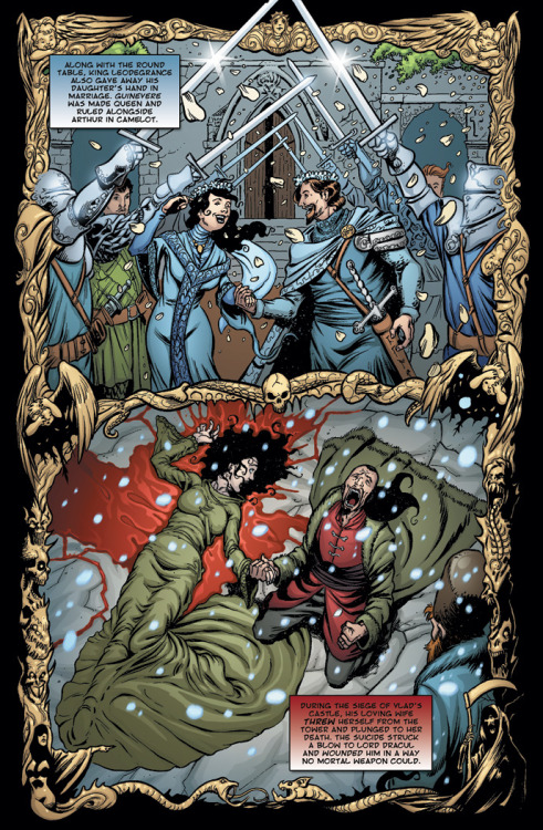 Preview: Page Four of Dracula vs King Arthur. King Arthur finds loves whilst Dracula finds nothing but pain and loss. Click through the page to see our Kickstarter campaign and pre-order your copy of the book!