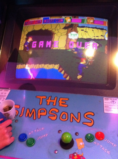fuckyeah1990s:  wudog:   the simpsons arcade game from 1991  I was playing this last night at Golfland, Mesa AZ and the joysticks didn't work. So if youre ever there and see this Arcade cabinet, don't play, the Lost World: Jurassic Park arcade game does work though, and its awesome.