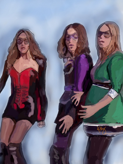 """We are heroes"", Quinn/Brooke/Haley, s8  Program: Autodesk Sketchbook Pro (ipad). Again, not much blending but I did use a different brush (airbrush) for the bg.  Sidenote, this scene always makes me laugh. previous drawing: ""It fixed me"" (One Tree Hill)"