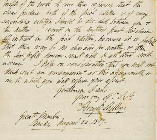 proustitute:  Percy Bysshe Shelley, A letter to Lackington's about Mary Shelley's Frankenstein, 1817