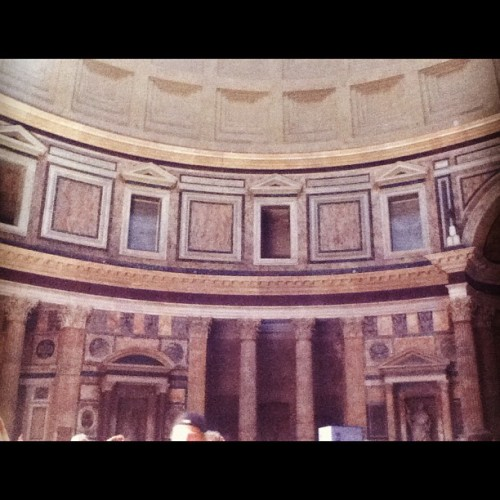 The beautiful marble interior of the pantheon. #beautiful #marble #carved #colourful #pantheon #holy #religious #rome  (Taken with Instagram at Rome, Italy)