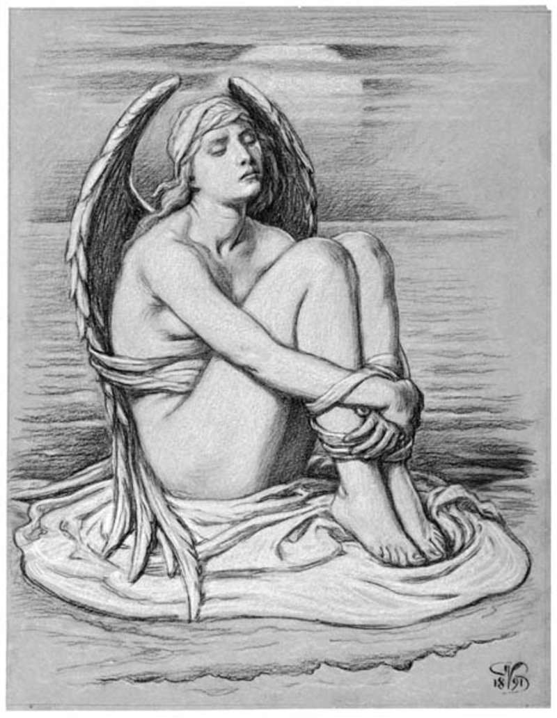 Bound Angel (preparatory drawing for Soul in Bondage) by Elihu Vedder, 1891, charcoal with Chinese white. Collection Brooklyn Museum