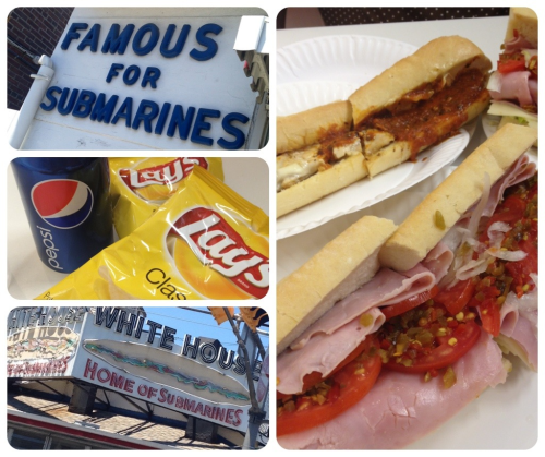 The Roadfood website never leads us astray. White House Sub Shop. Delicious!
