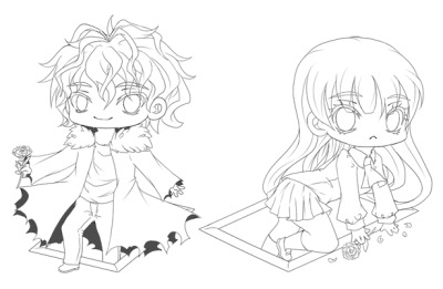 kawaiidream:  Lines for chibis Garry and Ib from the horror/terror game Ib, this will be made into keychans/straps to sell at the Japan Expo
