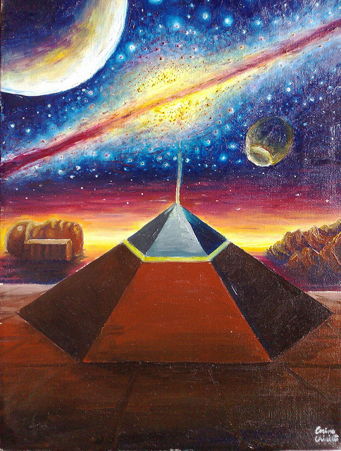 The Cydonia D&M pyramid the face on Mars and the milky way oil on canvas painting - Piramida pentagonala din zona Cydonia sfinxul de pe Marte si Calea lactee pictura ulei pe panza on Flickr.The Cydonia pyramid