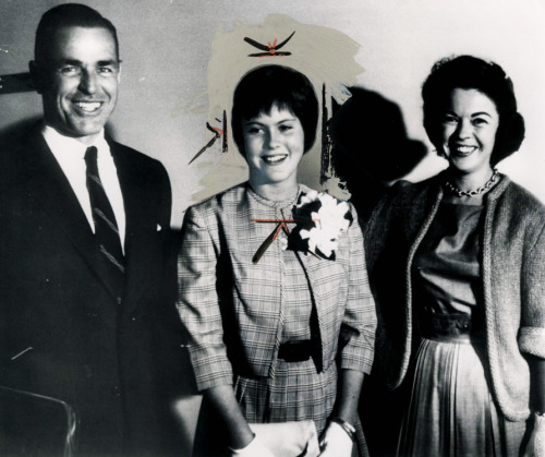 Shirley Temple Black (far right) with her daughter Linda Susan and husband Charles Black, 1963.