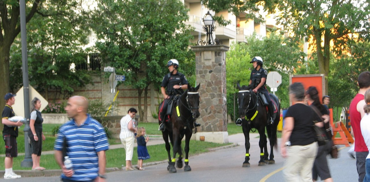 Mounted Police were on hand to make patrons nervous.
