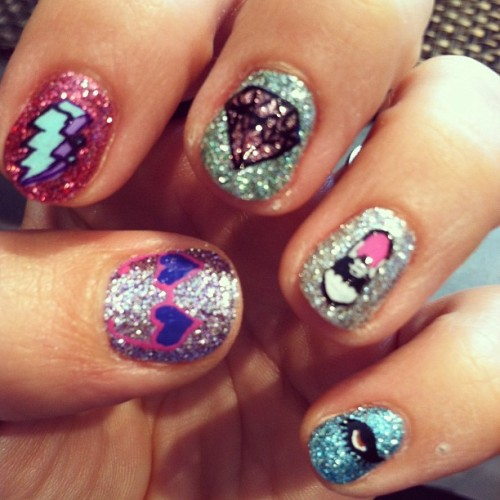 rookiemag:  Nail art based on drawings by Leanna, Marjainez, Kelly, Minna, Cynthia, Beth, and Sonja! <3 AA