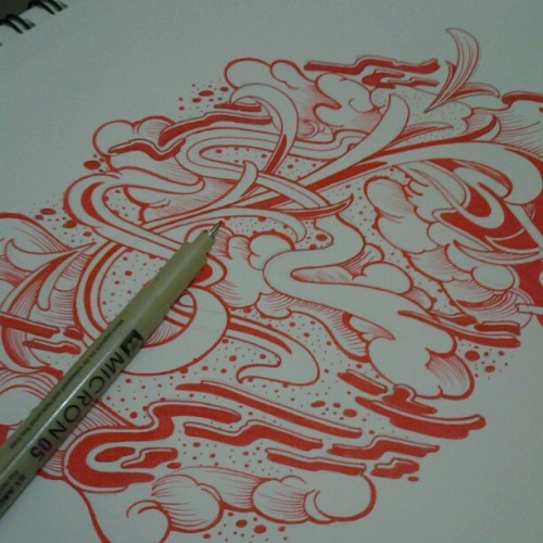 Sketching with the red micron this morning!! #art #sketchbaselbibbs  (Taken with Instagram)
