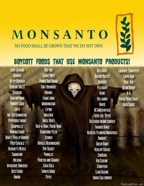 NO FOOD SHALL BE GROWN THAT WE DO NOT OWN…  MONSANTO…