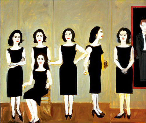 "Alex Katz, The Black Dress, 1960 ""As she looked at herself in the mirror Caroline thought fleetingly of the image of herself she had shown to Paul Landis and the other boys through the years, the thin girl in the black dress, efficient and gracious and untouchable, always."" —from Rona Jaffe's The Best of Everything, which is wonderfully addictive and soap-opera-y but also sharp and astute in its portrayal of young women trying to balance love and ambition in the 1950s and which my book club is discussing this evening, followed by a screening of the film with JOAN CRAWFORD. Anyway, I found Jaffe's take on the Little Black Dress so spot-on."