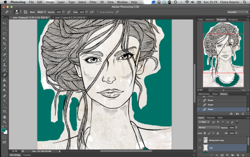 The start of colouring for an Amelia's magazine illustration. I'm going for a reduced colour palette on this one.